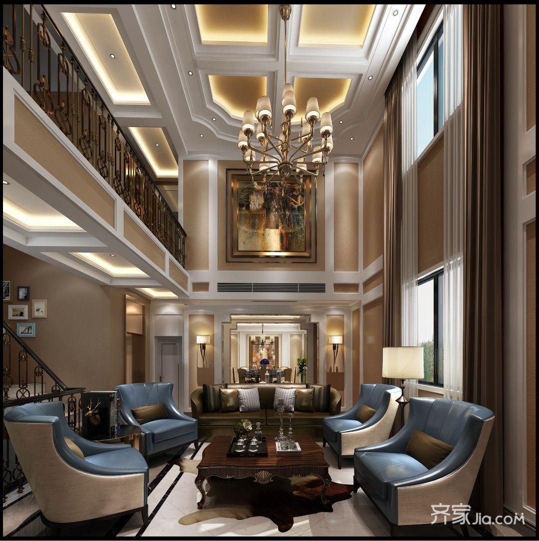 320平奢华欧式别墅客厅装修效果图