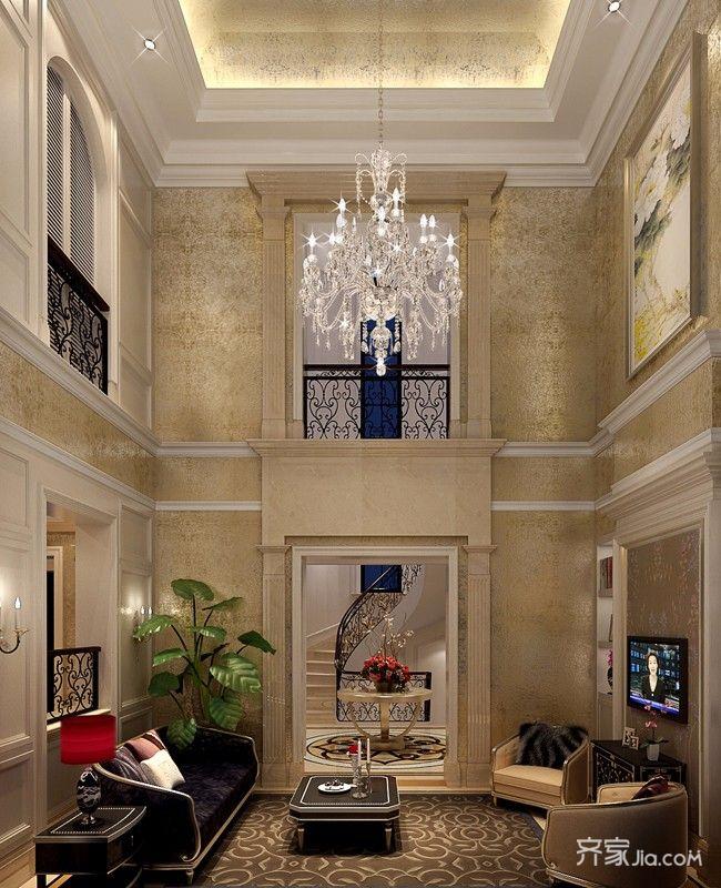 豪华古典欧式别墅客厅装修效果图