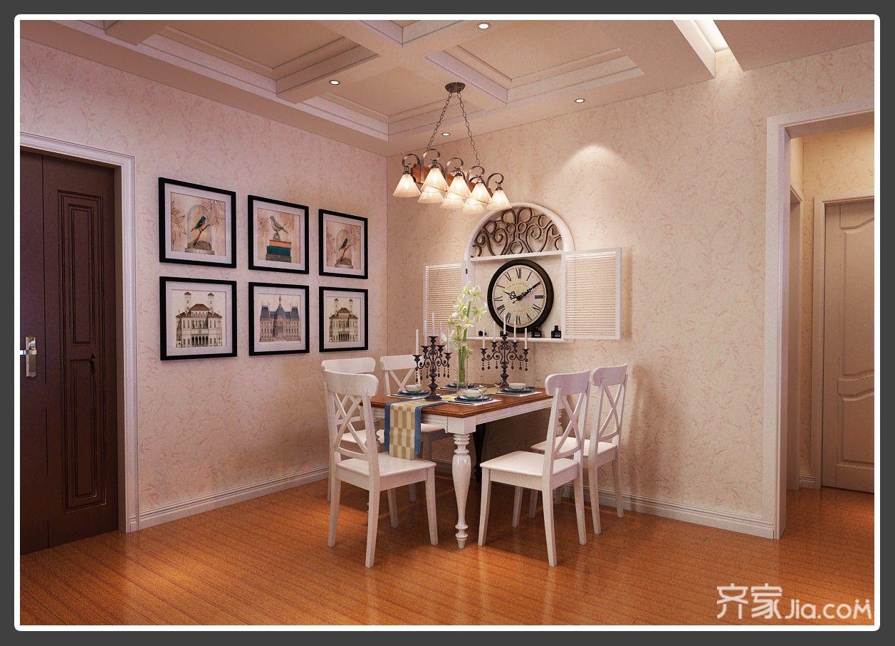 美式田园三居室餐厅装修效果图