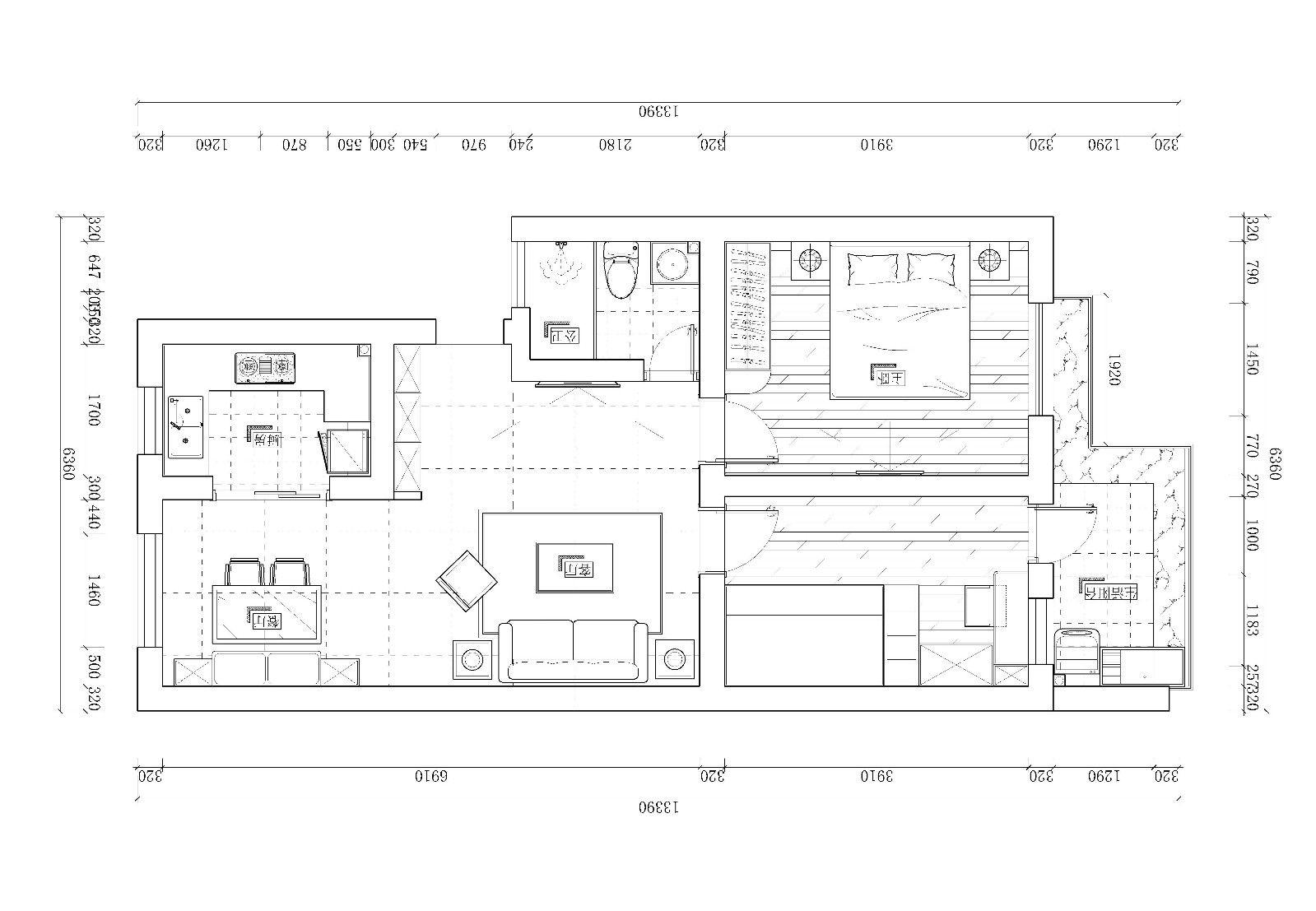 70㎡简约风格二居装修平面图