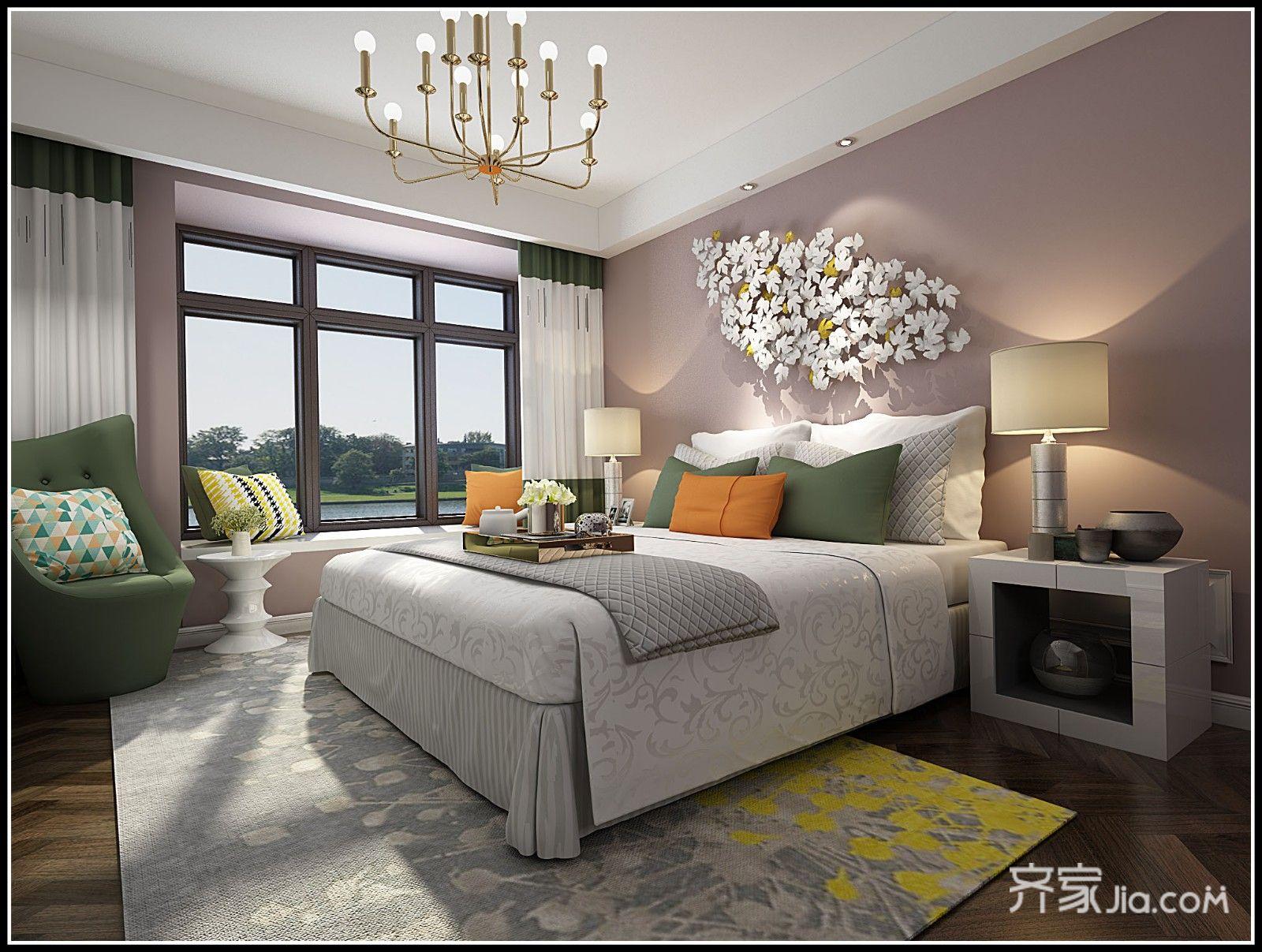 美式田园三居卧室装修效果图