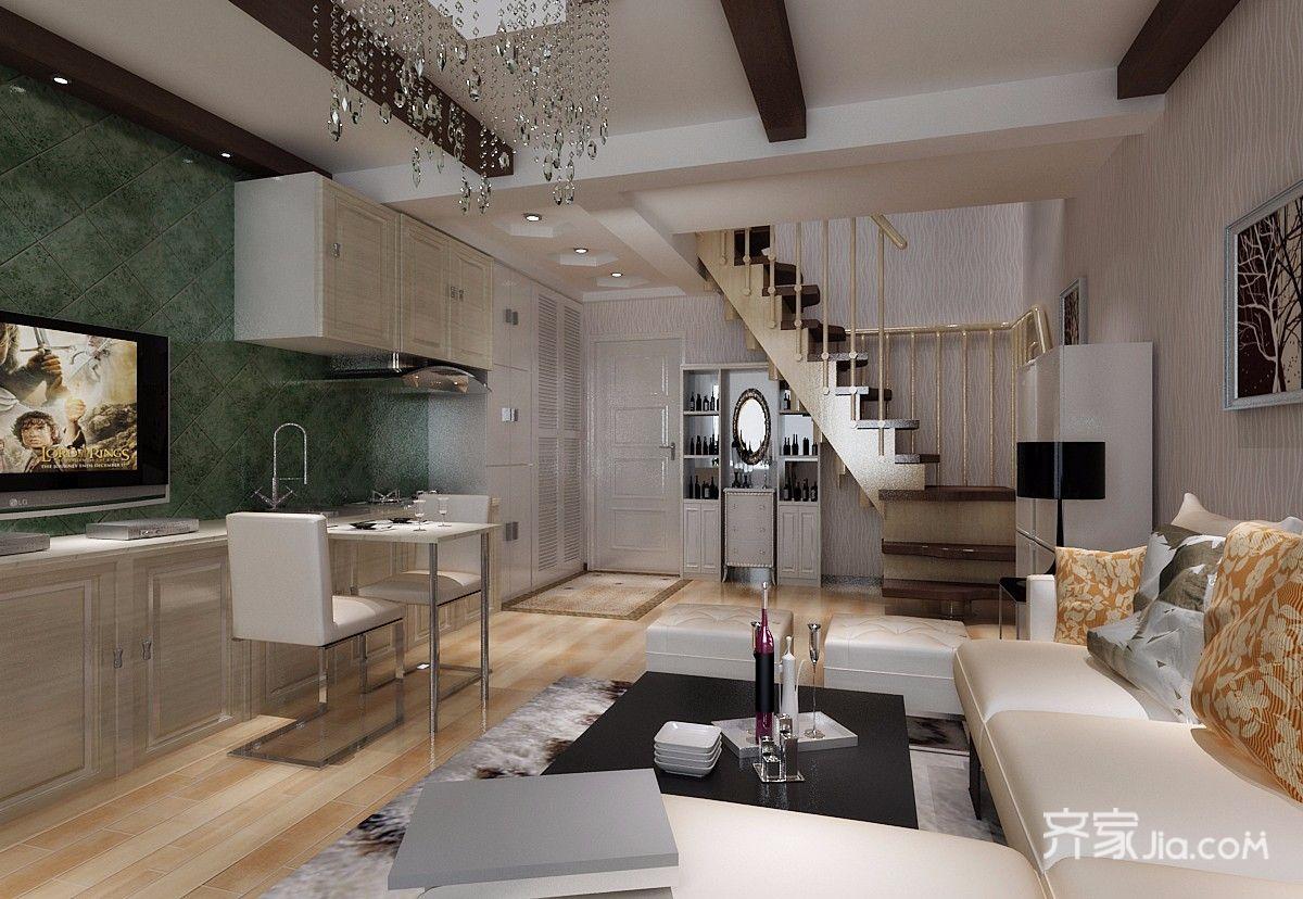 一居室简约风格复式装修厨餐厅布局图