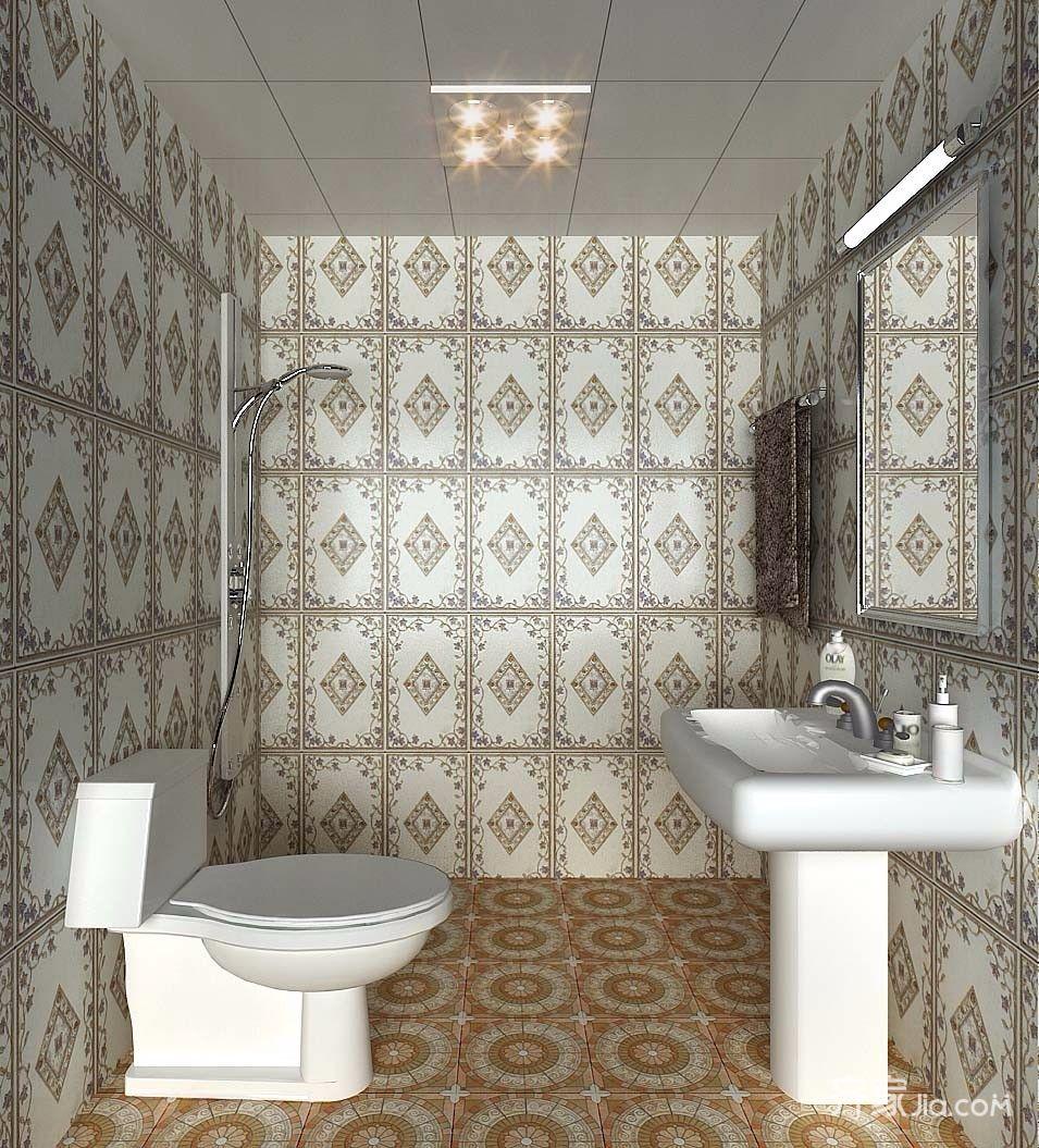 一居室简约风格复式装修卫生间效果图