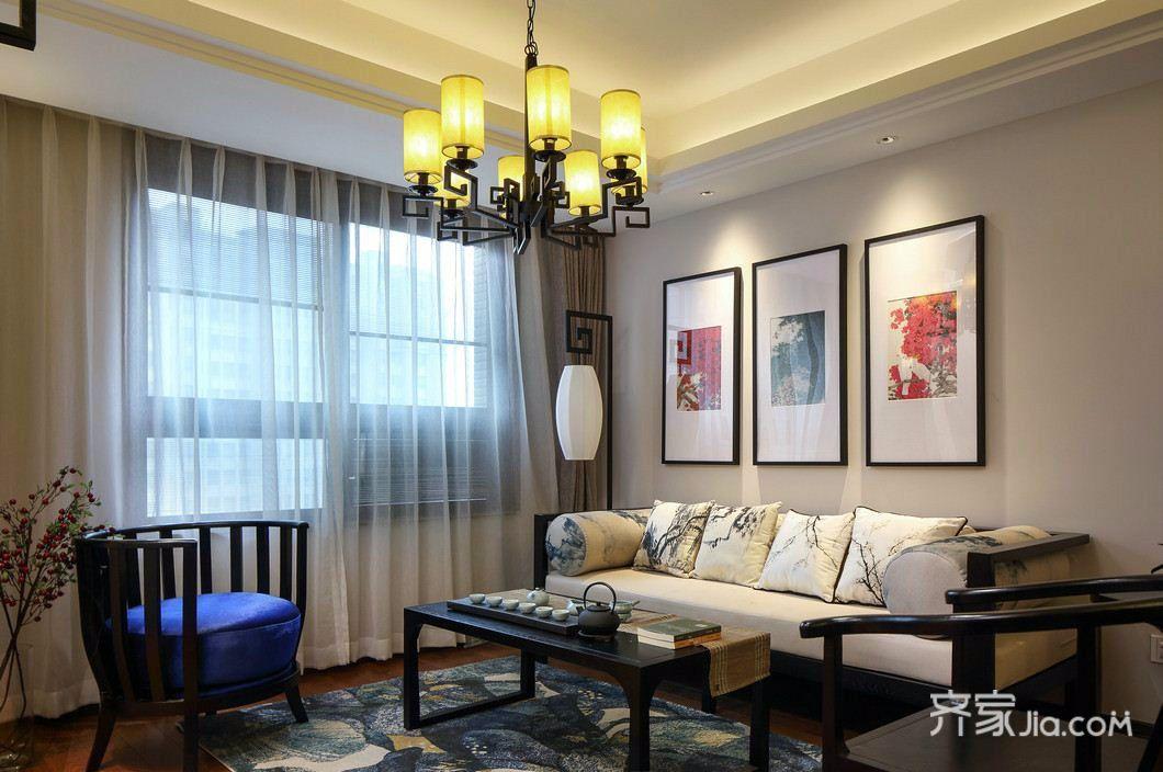 简约中式三居装修客厅设计图