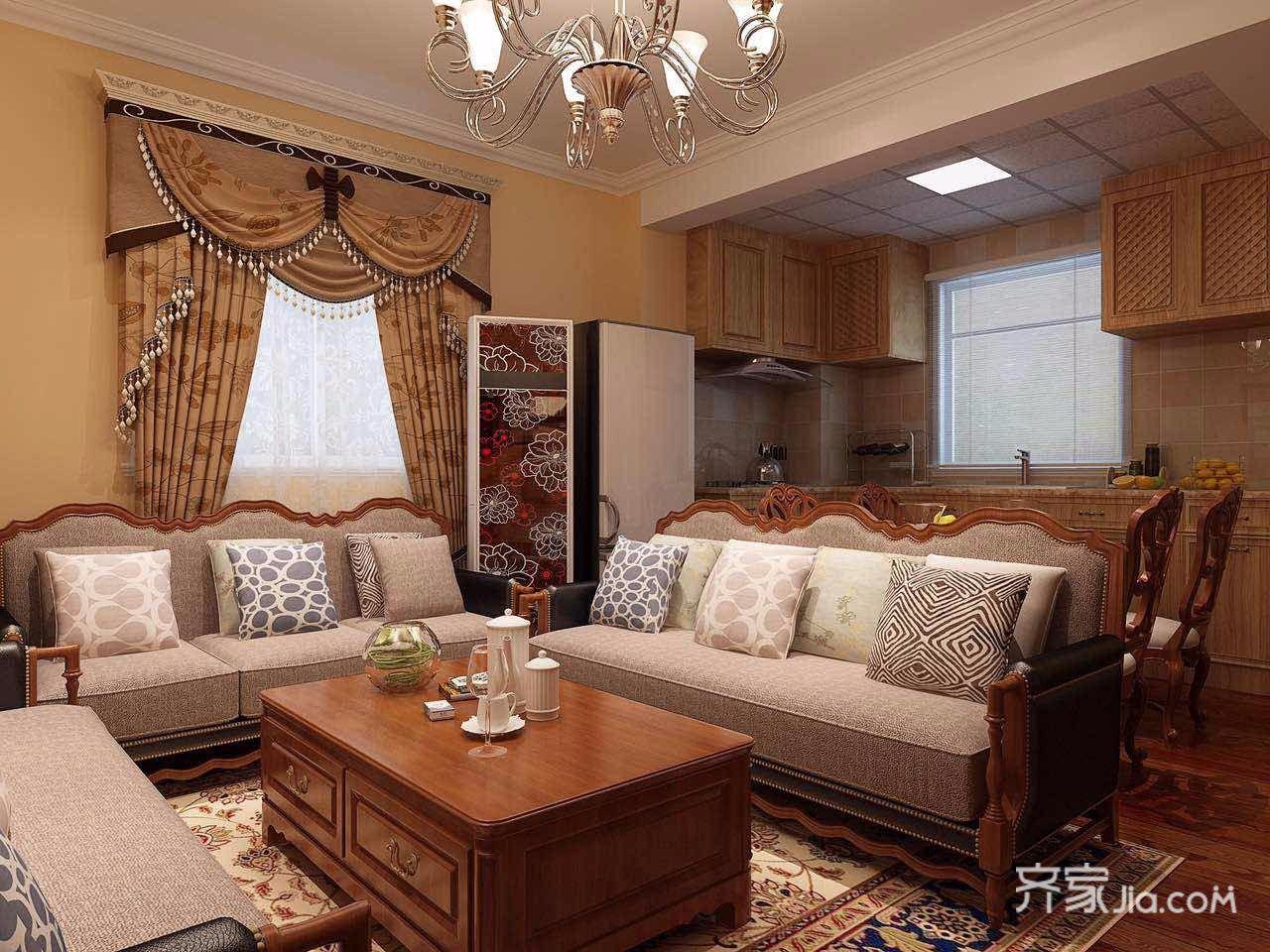 95㎡混搭风格三居客厅装修效果图
