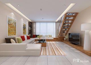 复式现代简约风格客厅吊顶装修效果图