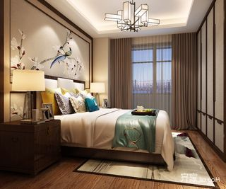 80㎡新中式风格二居卧室装修效果图