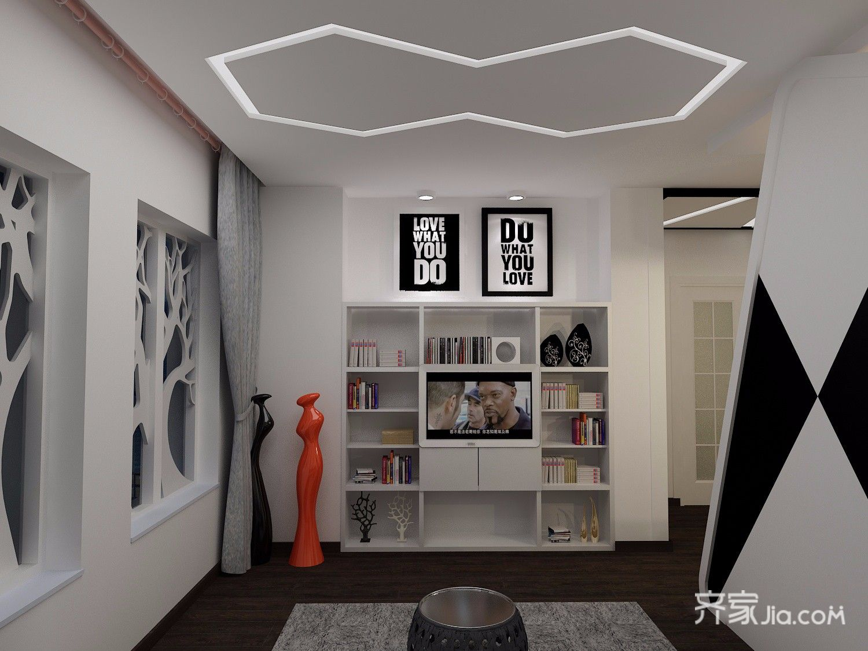 小户型现代风格公寓电视背景墙装修效果图