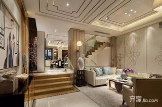 混搭风格复式别墅楼梯装修效果图