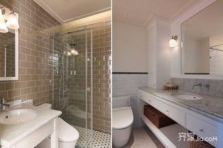 140平美式风格三居装修卫生间布局图