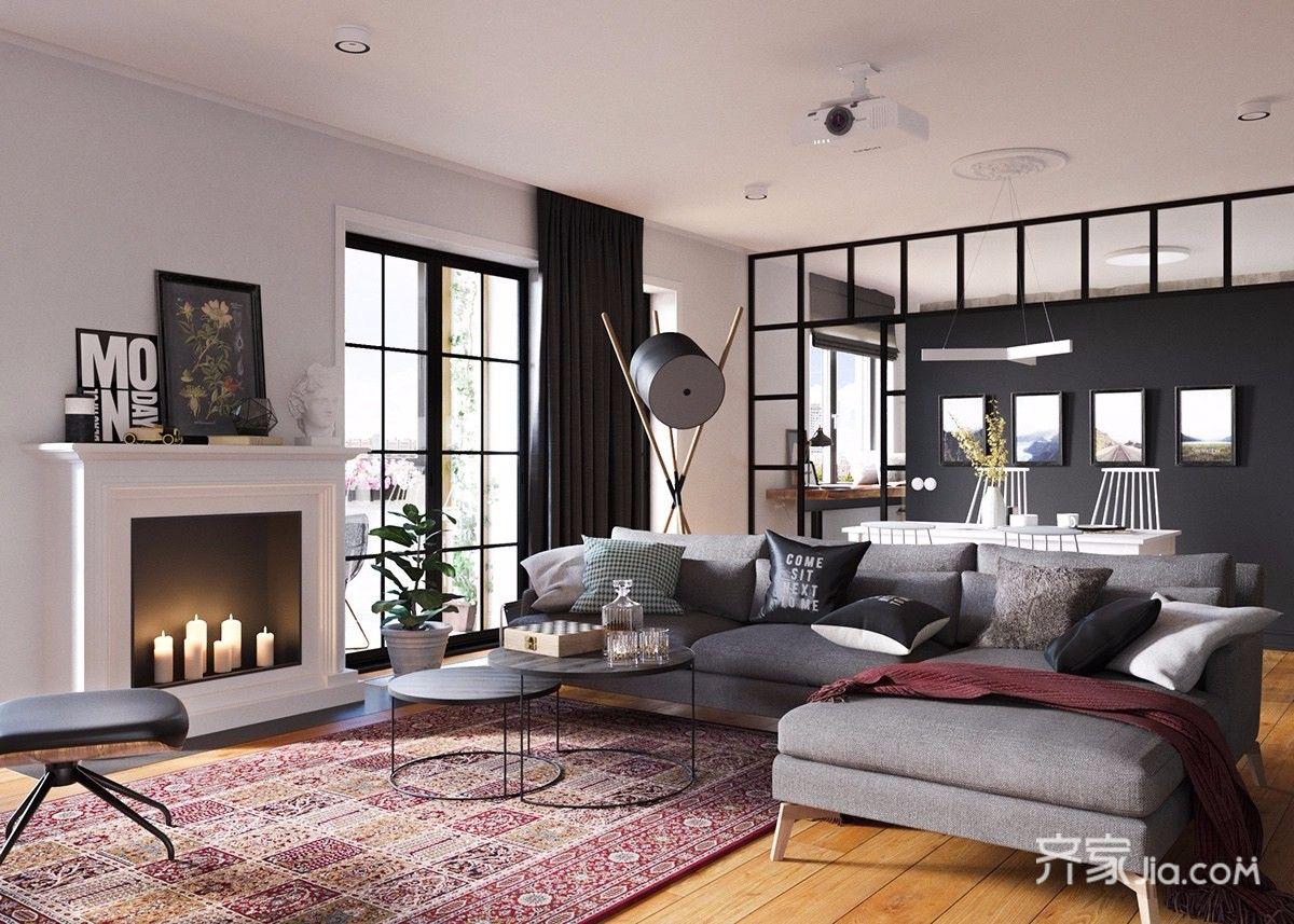 96平北欧宜家风格装修沙发布置图