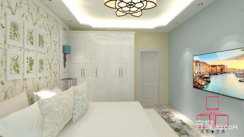 75平田园风格三居卧室装修效果图