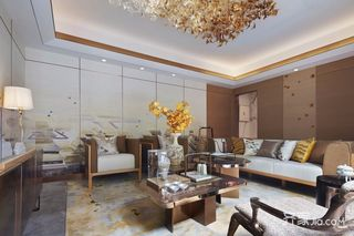 新中式别墅沙发背景墙装修效果图