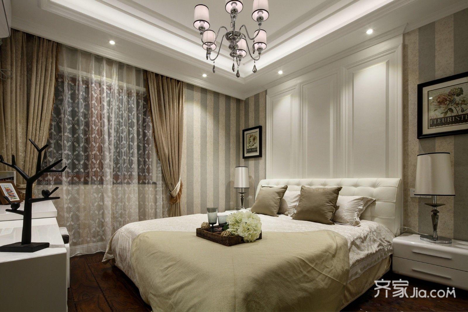 130㎡现代风格三居室装修卧室设计图