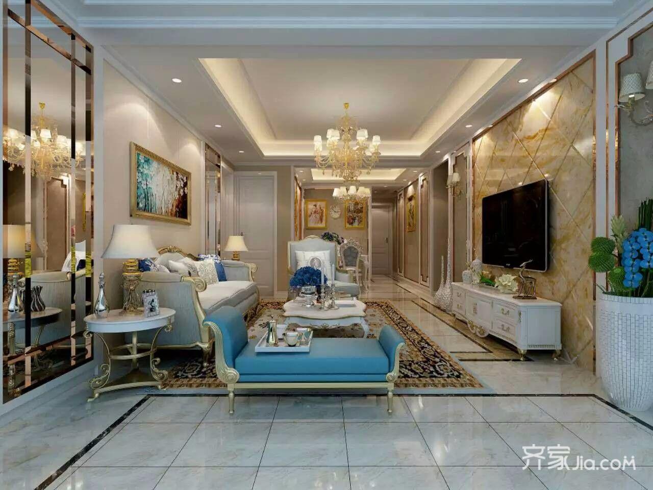 120平米欧式风格客厅装修效果图