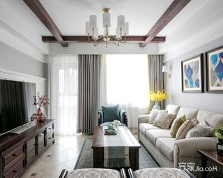 98平现代美式三居装修设计图