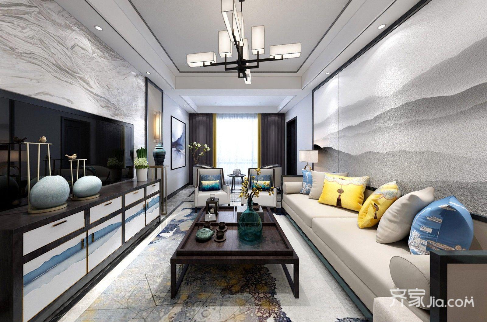 新中式三居客厅装修设计效果图