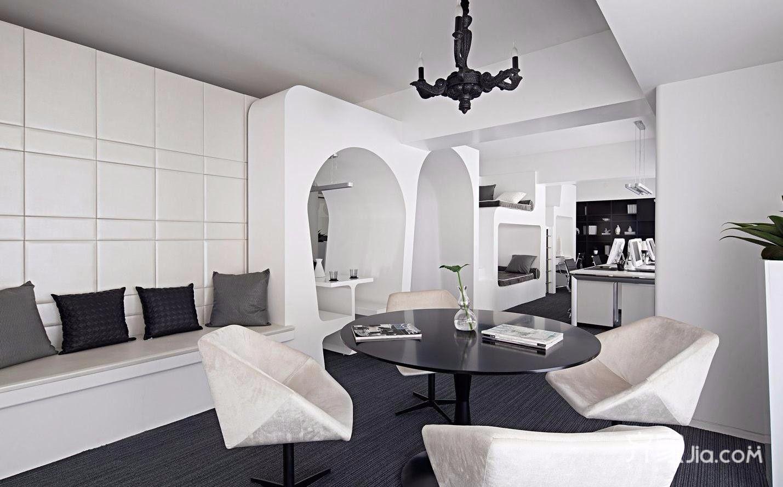 黑白简约风格办公室接待区装修效果图