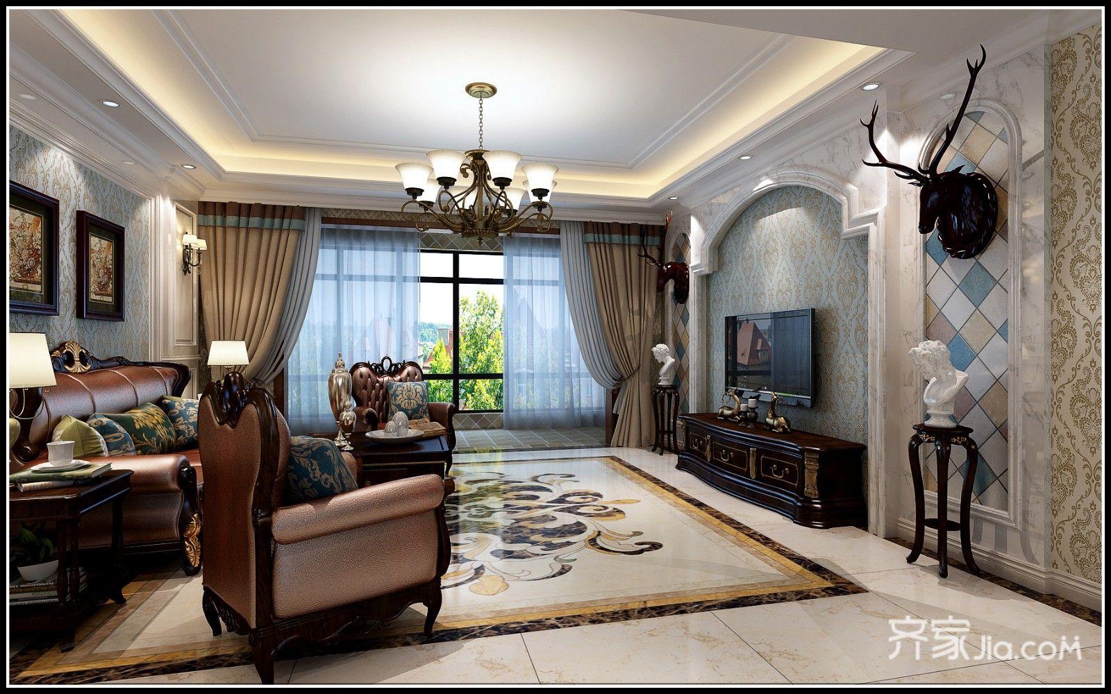 130平米美式风格客厅装修效果图