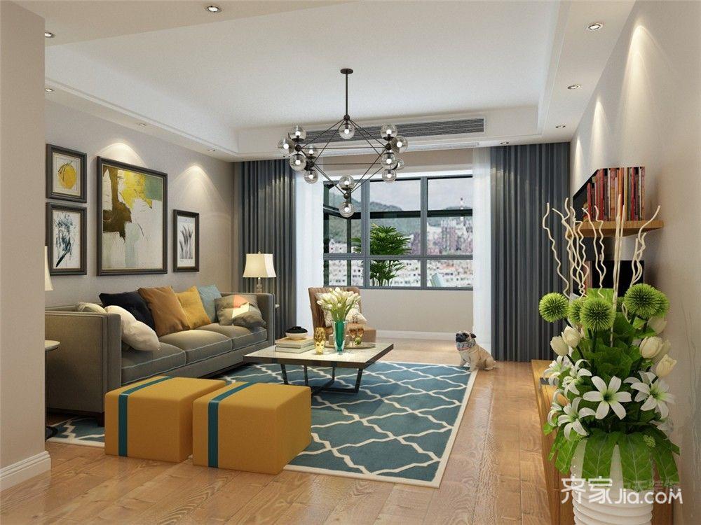 110㎡现代简约三居装修窗帘设计图