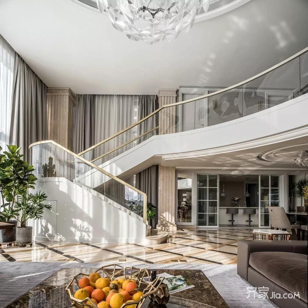 混搭风别墅装修楼梯设计效果图
