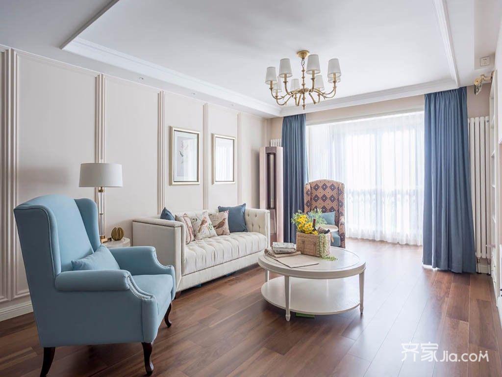 120平美式三居装修沙发背景墙设计图