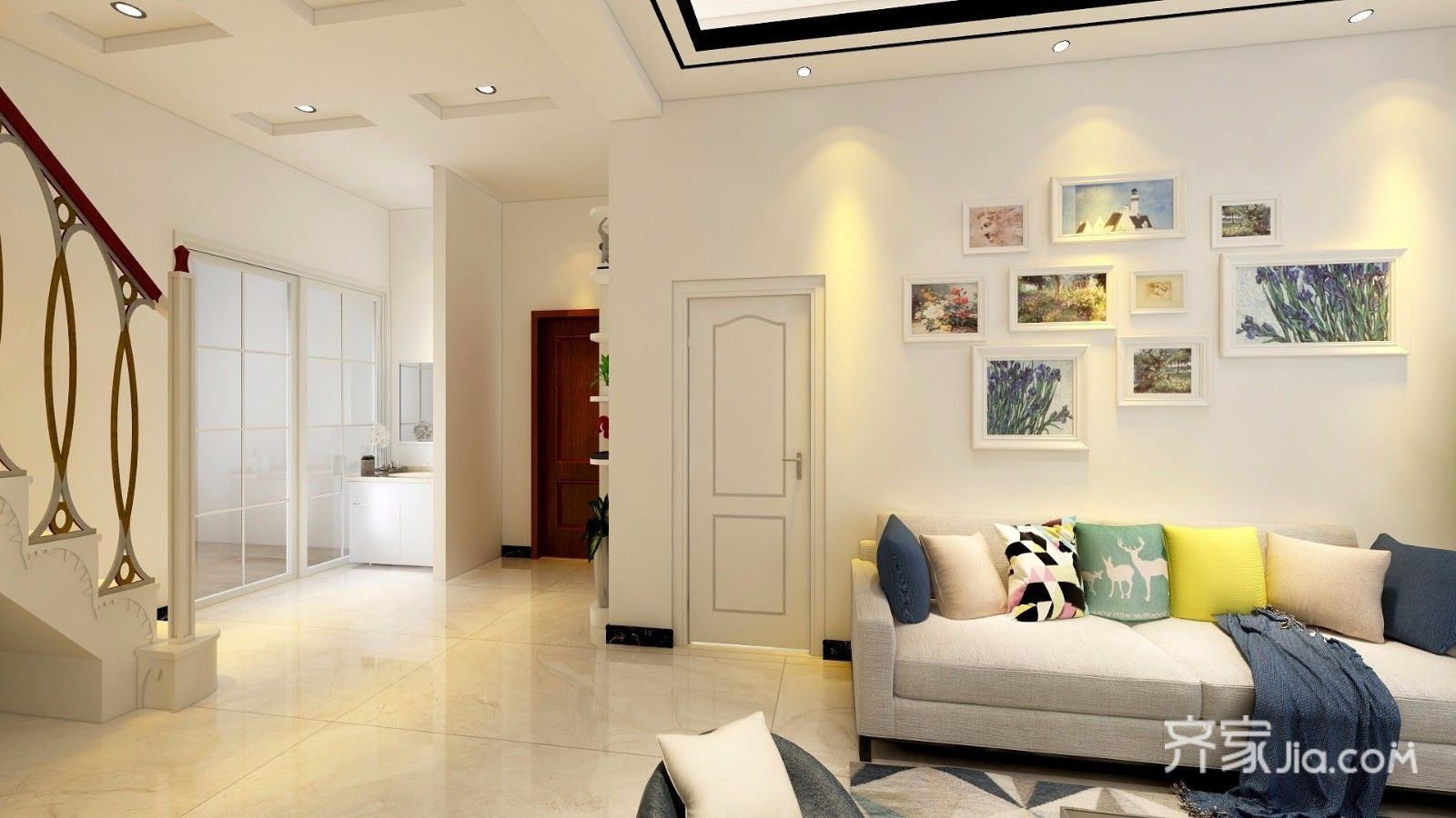 简约风格复式装修沙发背景墙效果图