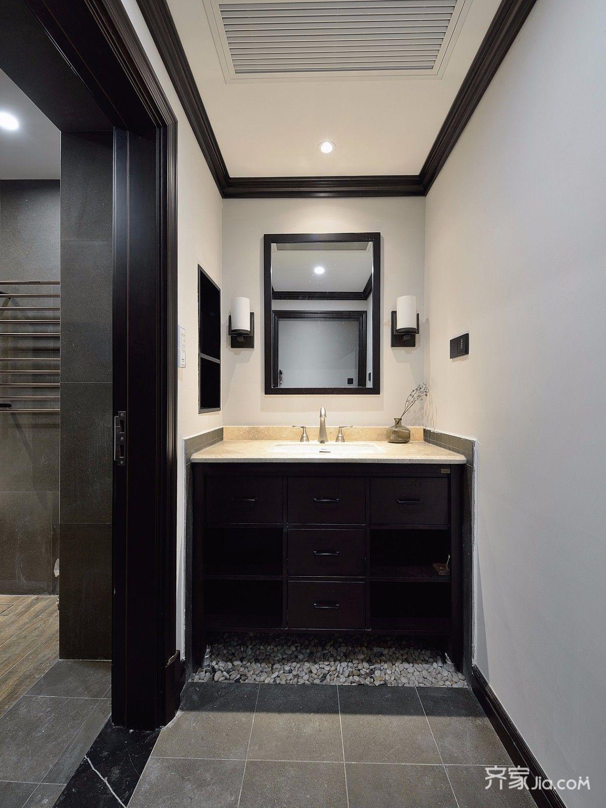 三居室混搭风格装修浴室柜设计图