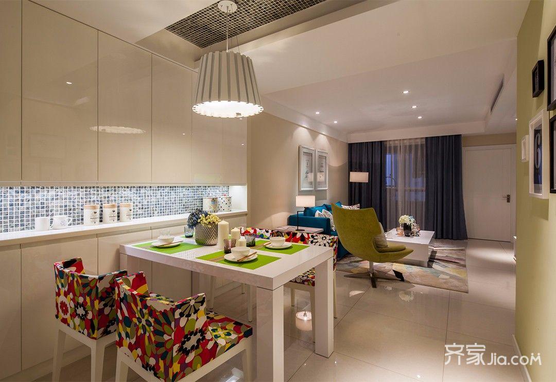 112平现代简约三居装修餐厅效果图