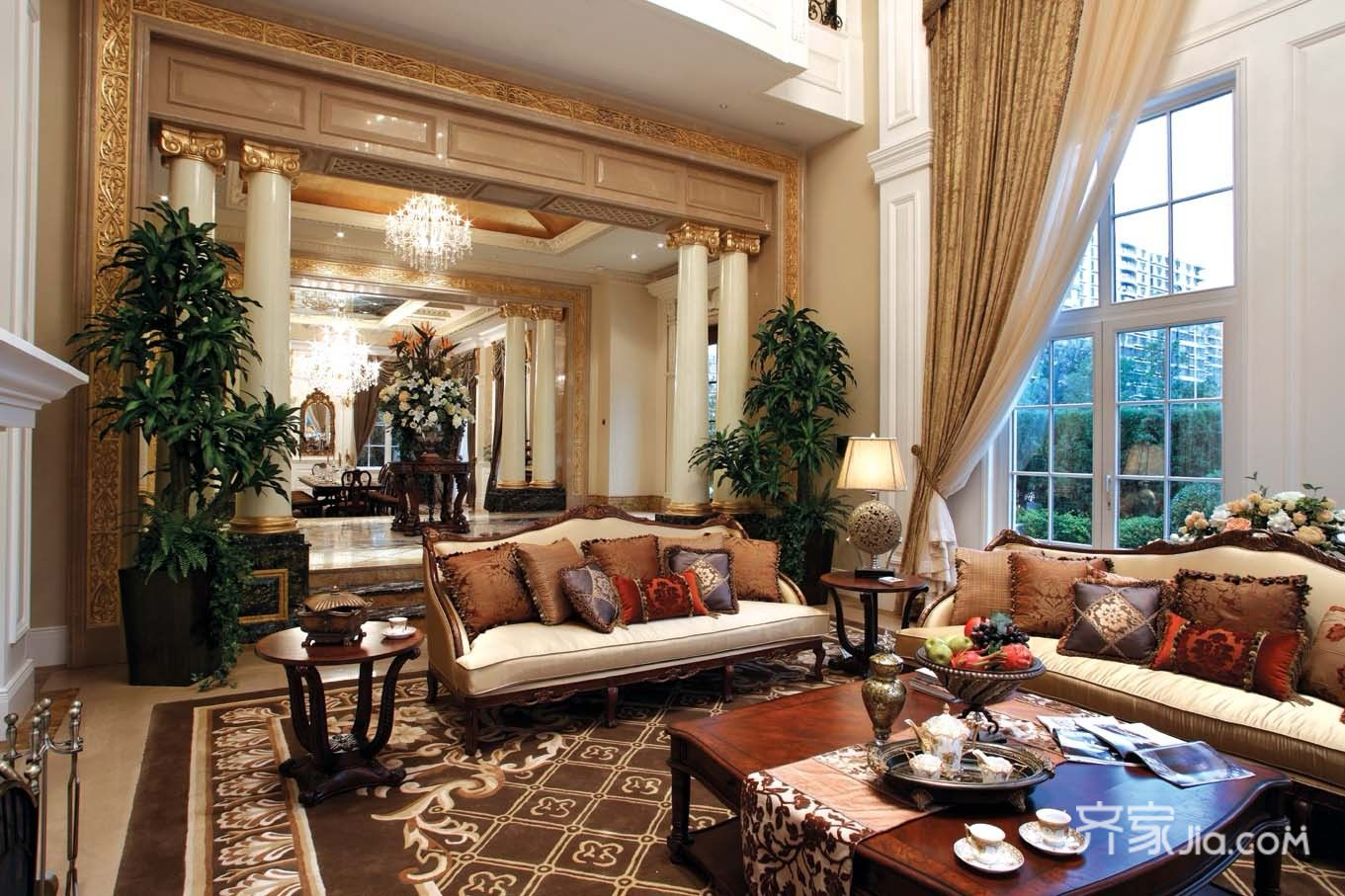 美式豪华别墅装修客厅设计图