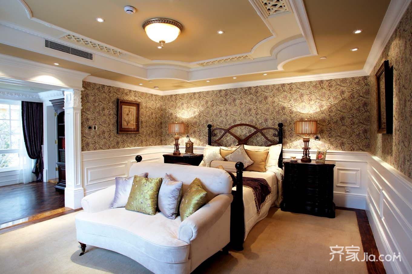 美式豪华别墅装修卧室设计图
