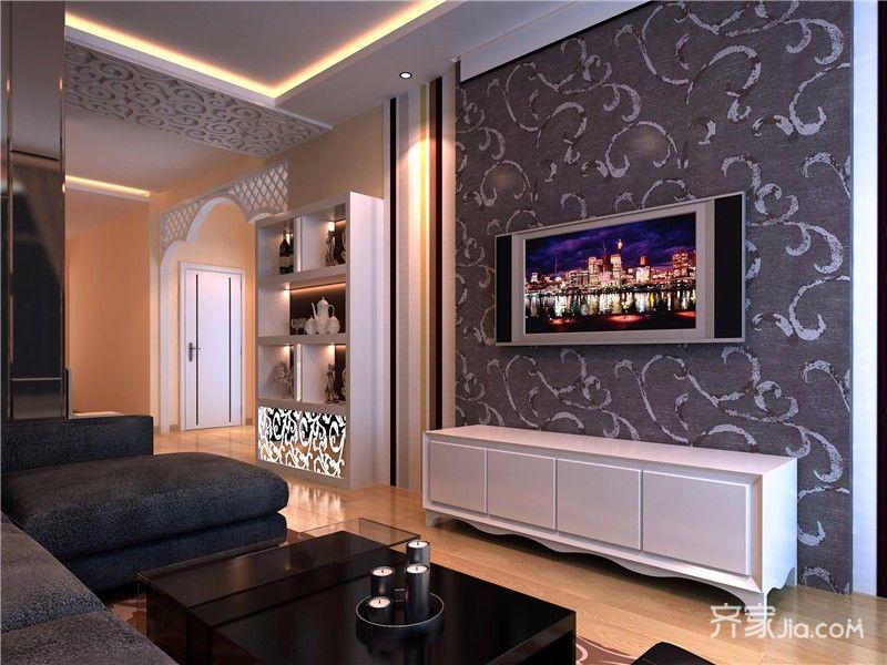 78平混搭风格二居电视背景墙装修效果图