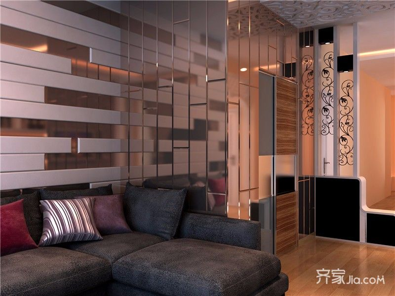 78平混搭风格二居沙发背景墙装修效果图