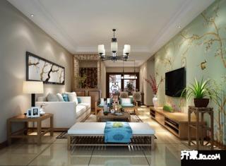 120㎡三居室中式风格装修效果图