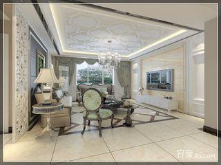现代欧式风格四房装修客厅吊顶效果图