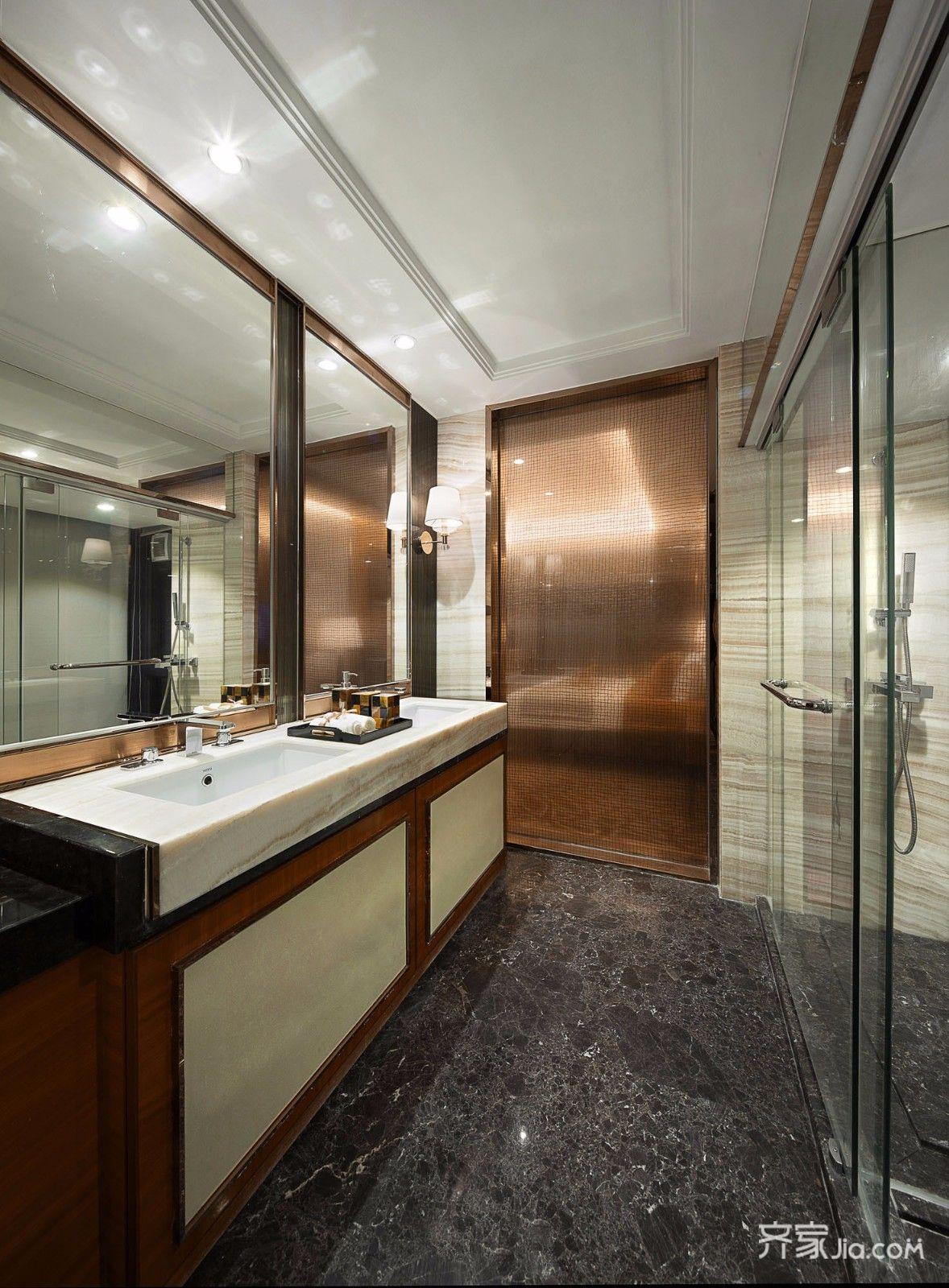 现代三居装修卫生间效果图