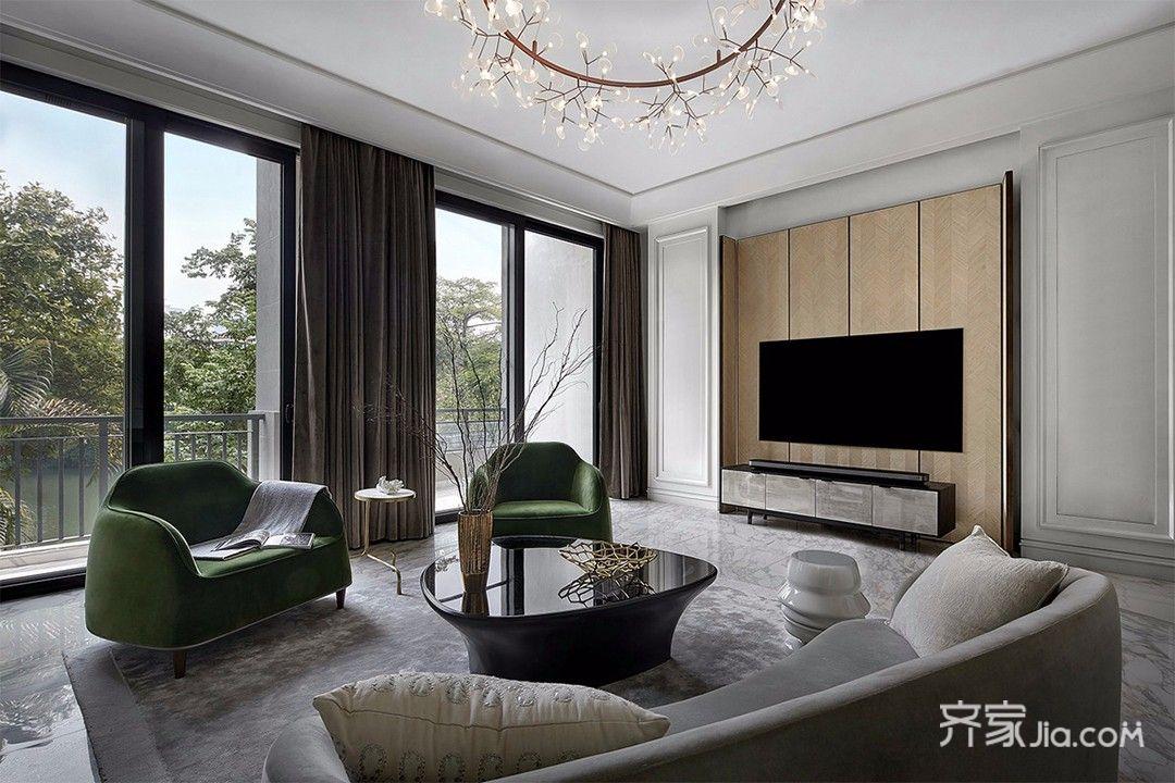现代简约三居装修电视背景墙设计效果图