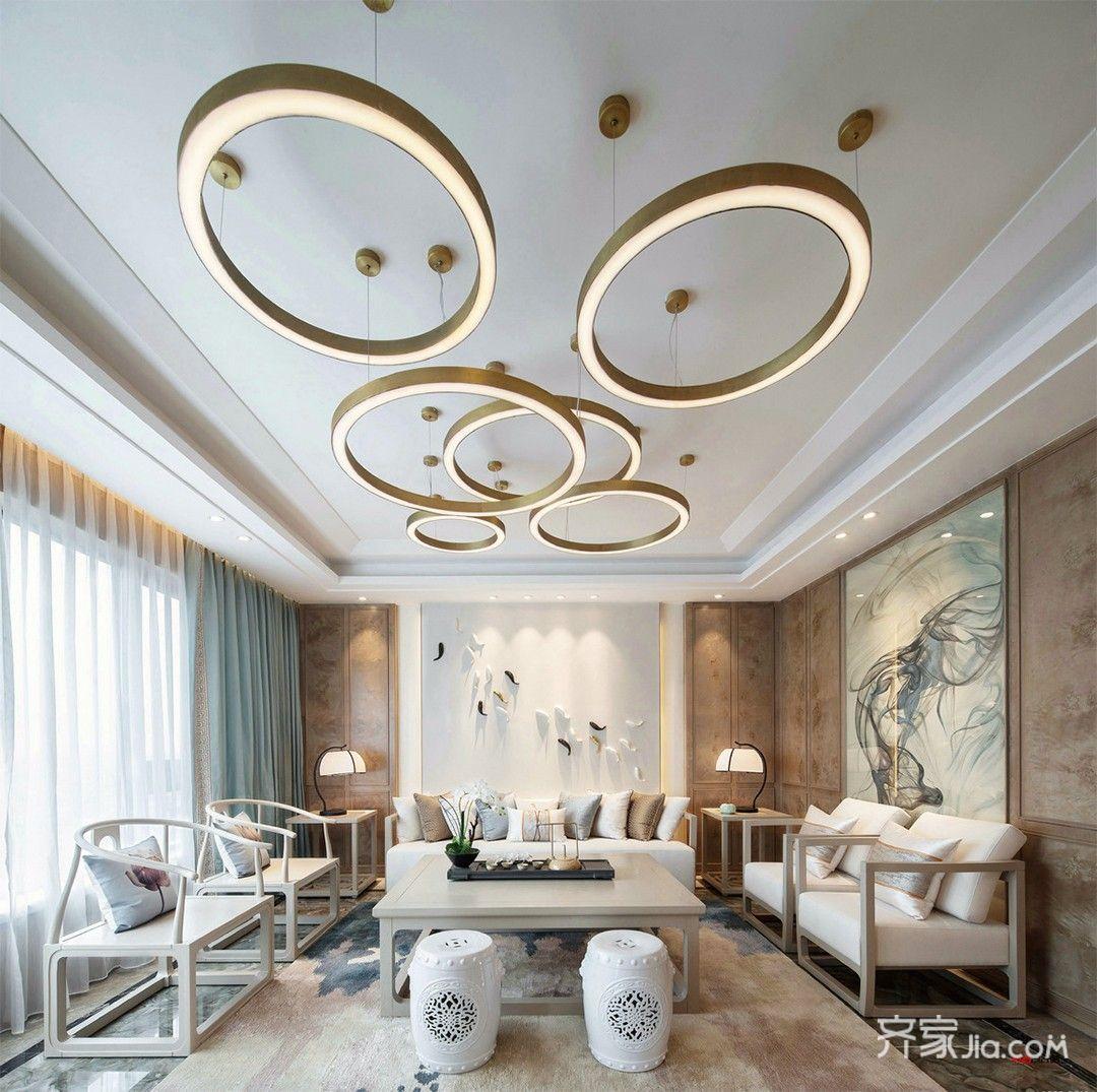 130㎡新中式风格装修吊灯设计效果图