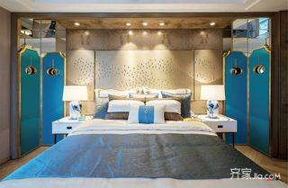 130㎡新中式风格卧室背景墙设计效果图