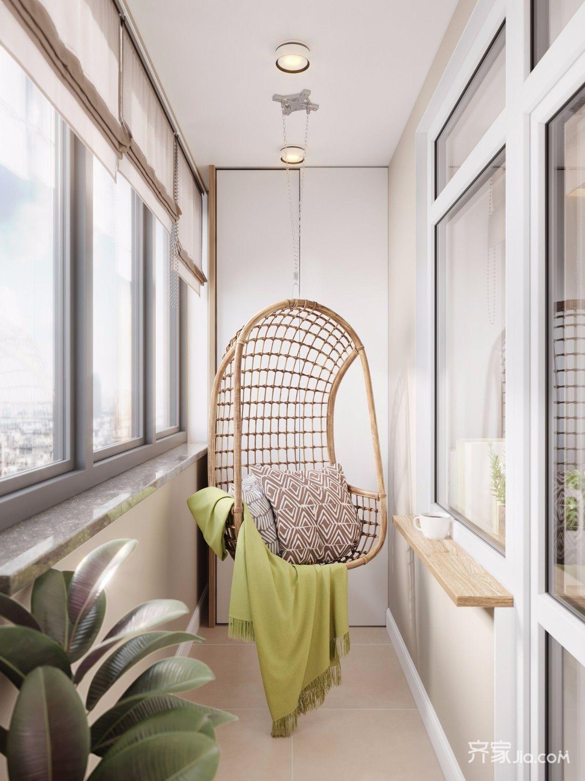 日式北欧风格二居阳台装修效果图
