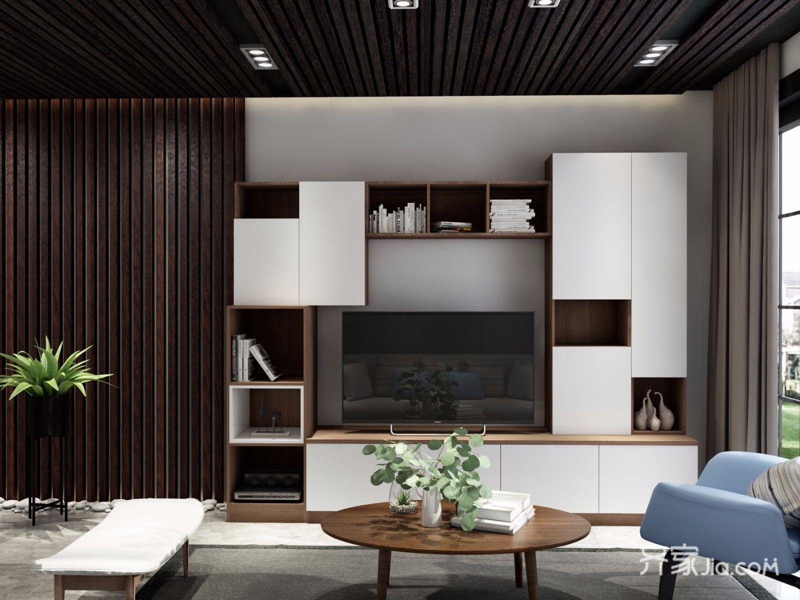 二居室简约风格装修电视背景墙效果图