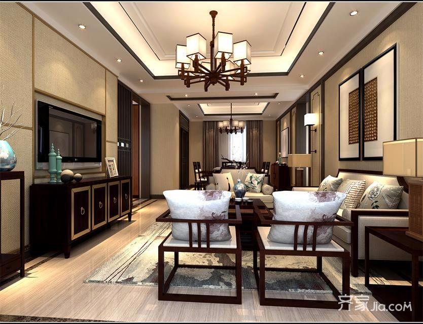 120平中式风格三居装修效果图