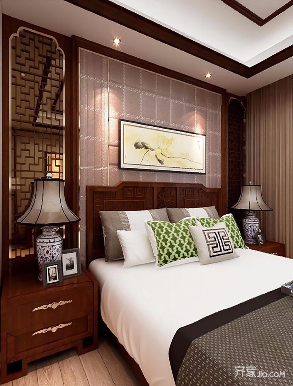 大户型中式风格卧室背景墙设计效果图