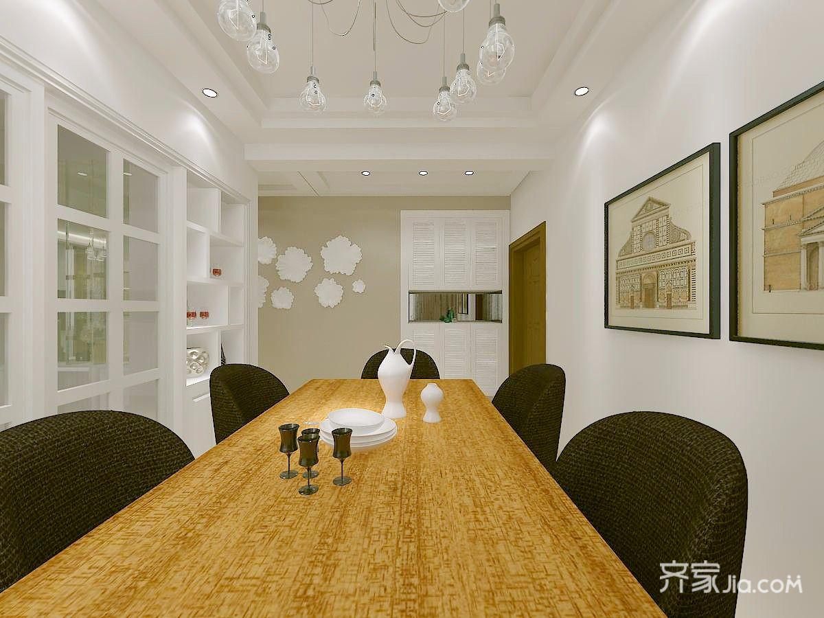 110㎡三居室现代简约装修餐桌设计效果图