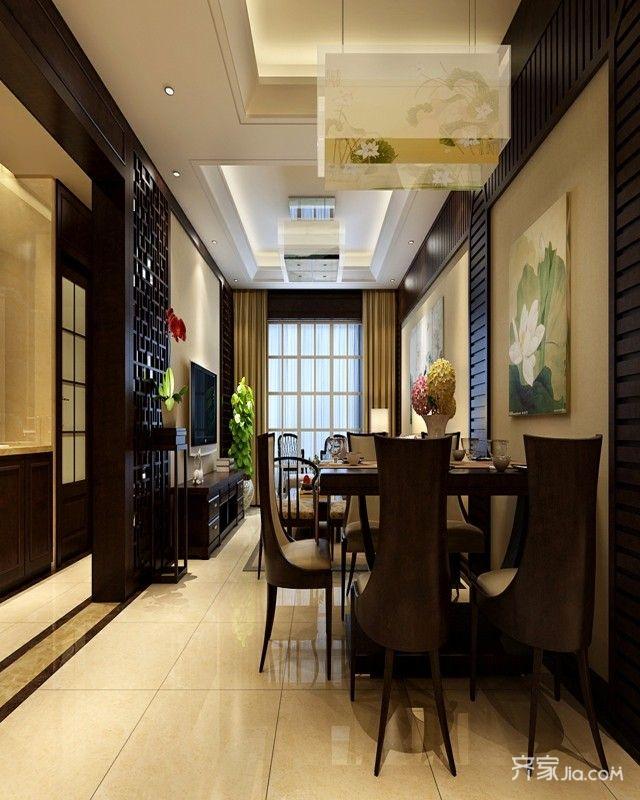 128平中式风格二居客餐厅装修效果图
