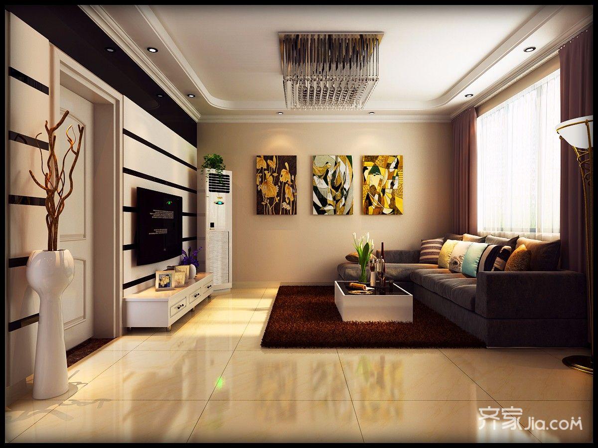 120平现代简约三居装修电视背景墙效果图