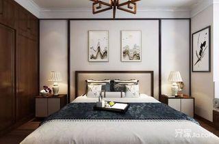 90㎡三居新中式风格装修卧室背景墙效果图