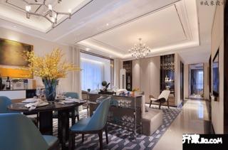 现代轻奢风格四房装修客餐厅效果图