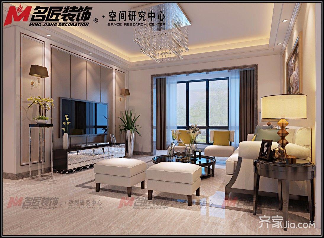 现代风格三房两厅装修客厅效果图