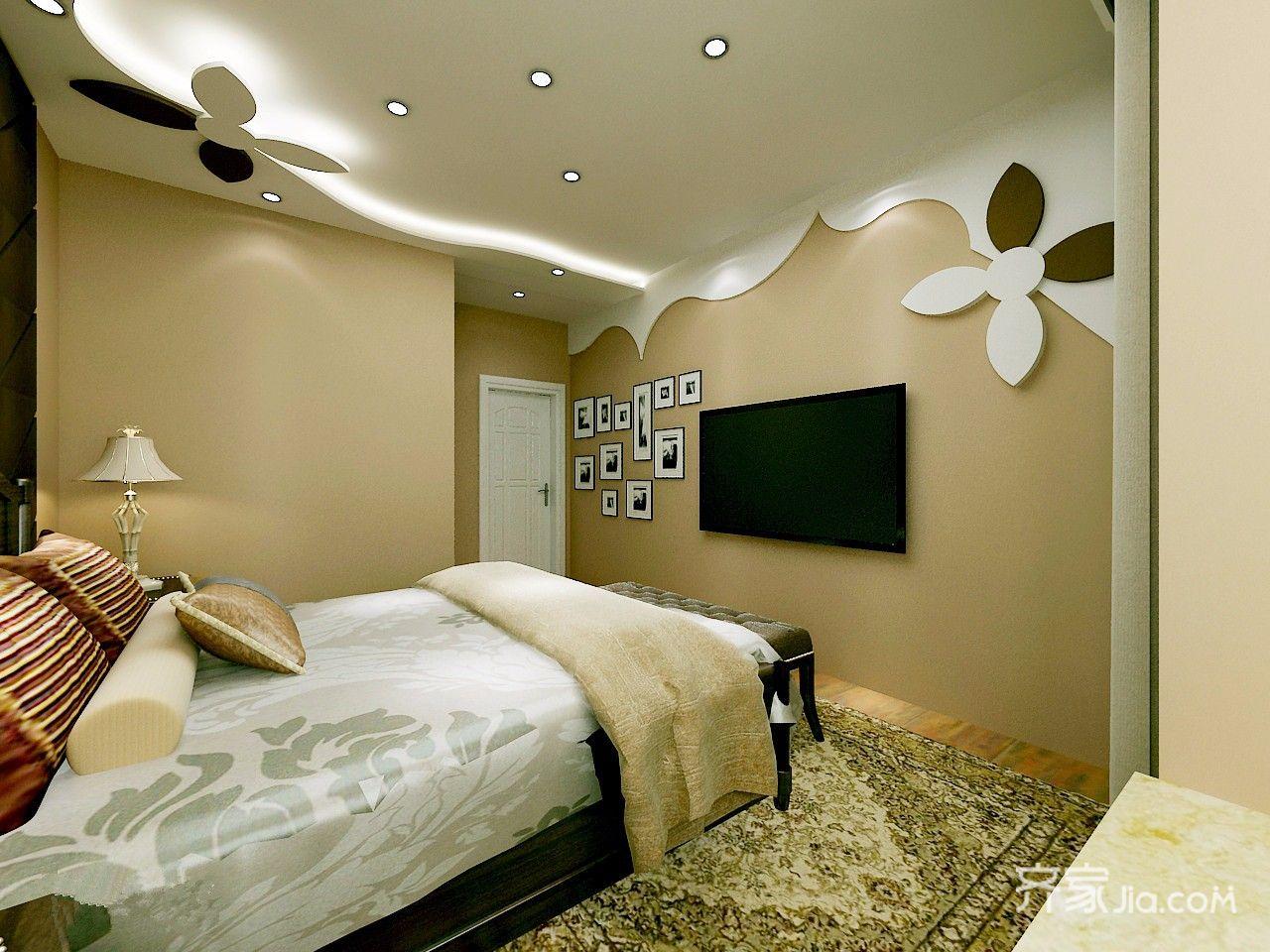 100㎡现代风格三居装修卧室吊顶设计